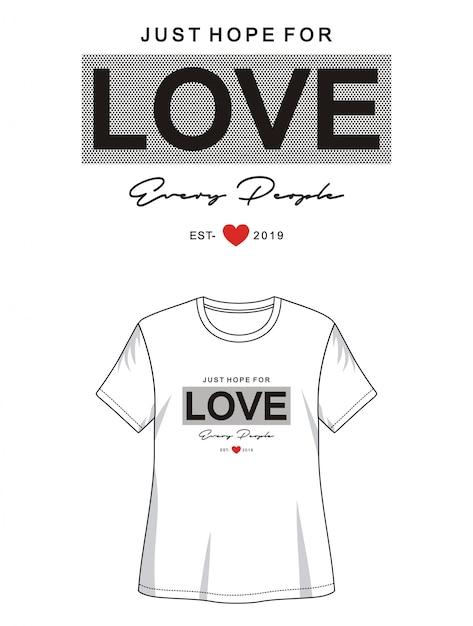 Tipografia de amor para impressão camiseta menina Vetor Premium