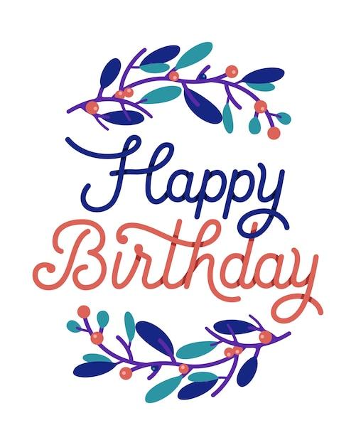 Tipografia de cartão de feliz aniversário com coroa de flores Vetor Premium