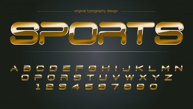 Tipografia de cromo de esportes dourado brilhante Vetor Premium