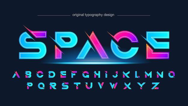 Tipografia de esportes fatiados futuristas em azul neon e rosa Vetor Premium