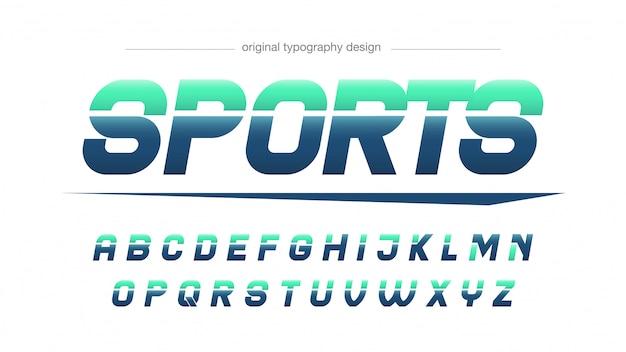 Tipografia de esportes modernos azul verde Vetor Premium