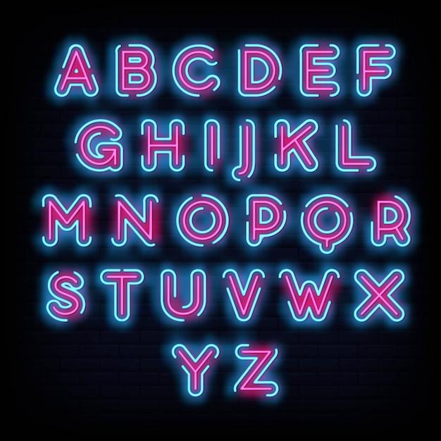 Tipografia de fonte do alfabeto estilo de sinal de néon Vetor Premium
