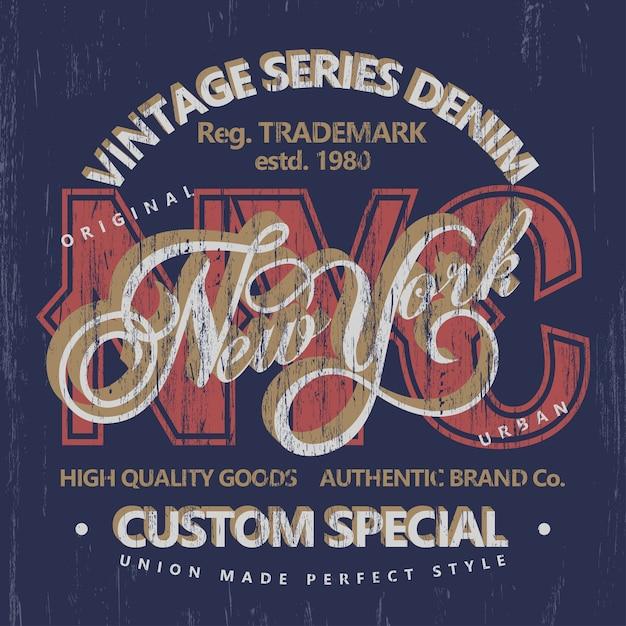 Tipografia de jeans, gráficos de camisetas, impressão de camisetas vintage Vetor Premium