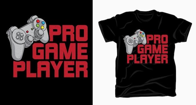 Tipografia de jogador profissional com camiseta de controle Vetor Premium