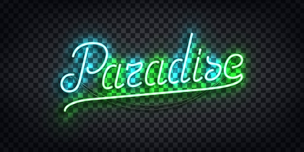 Tipografia de neon isolado realista do paraíso Vetor Premium