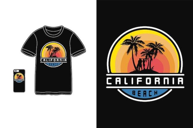 Tipografia de praia da califórnia em produtos para camisetas e dispositivos móveis Vetor Premium