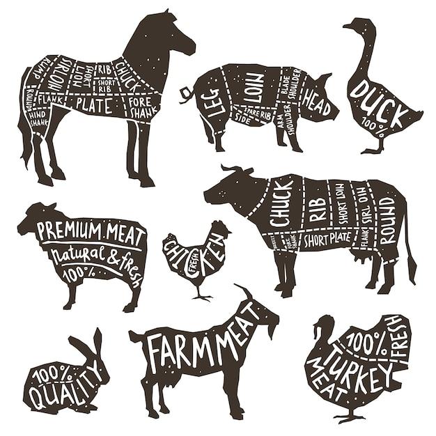 Tipografia de silhueta de animais de fazenda Vetor grátis