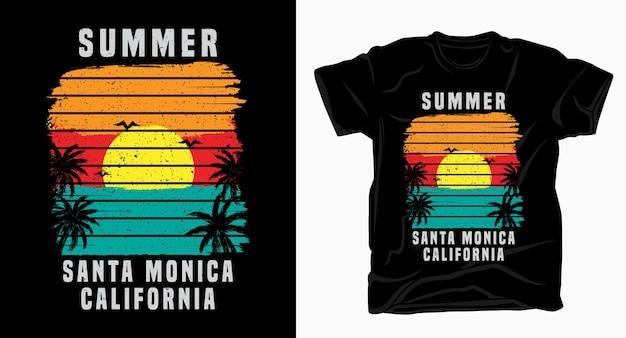 Tipografia de verão santa monica califórnia com pôr do sol e camiseta palm Vetor Premium