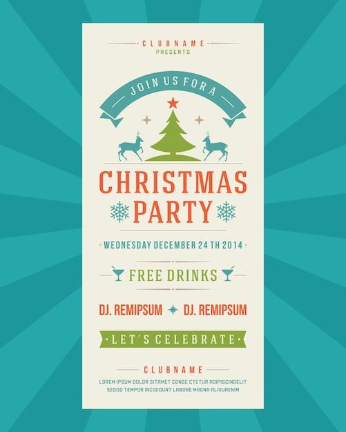 Tipografia do vintage do convite do inseto da festa de natal e ilustração dos elementos da decoração. Vetor Premium