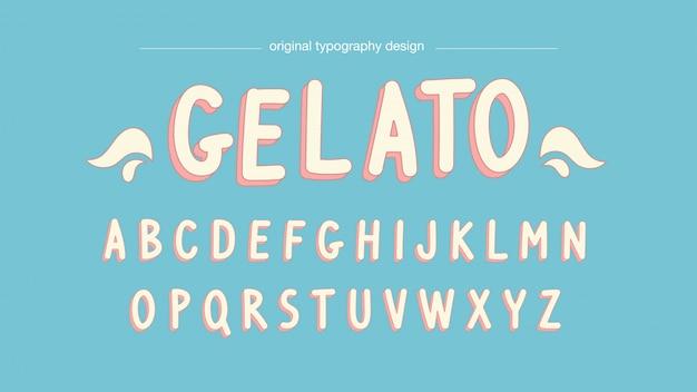 Tipografia dos desenhos animados de cores pastel Vetor Premium