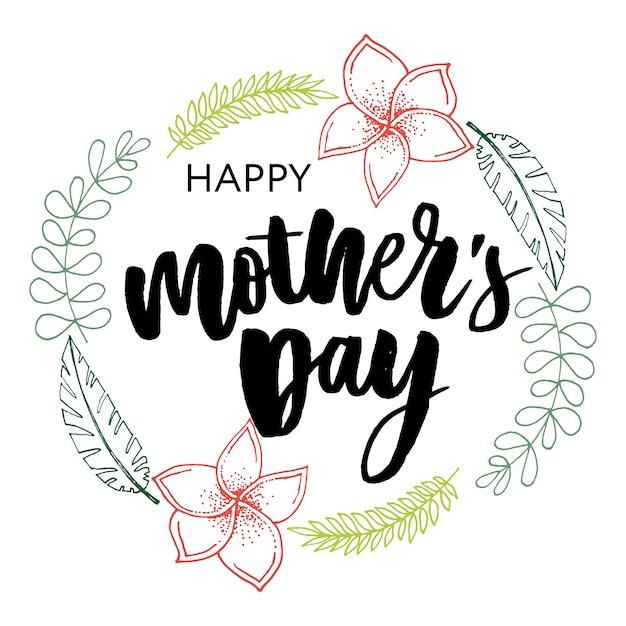 Tipografia elegante do dia das mães feliz Vetor Premium