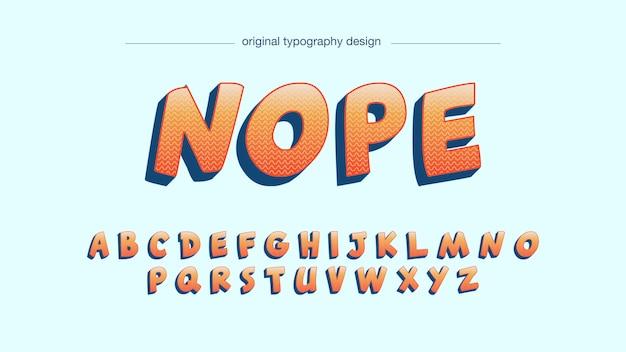 Tipografia em quadrinhos corajosa laranja dos desenhos animados Vetor Premium