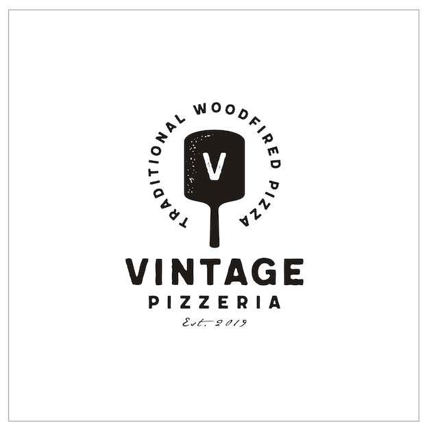 Tipografia espátula e iniciais para pizza vintage logo Vetor Premium