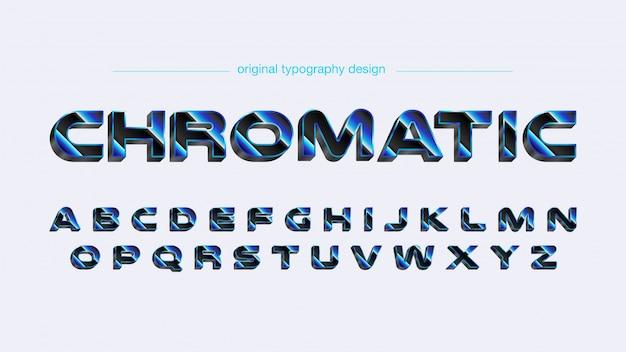 Tipografia futurista em negrito cromo azul Vetor Premium