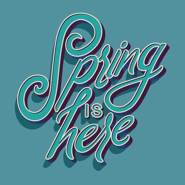 Tipografia manuscrita decorativa colorida com primavera é o texto. Vetor Premium