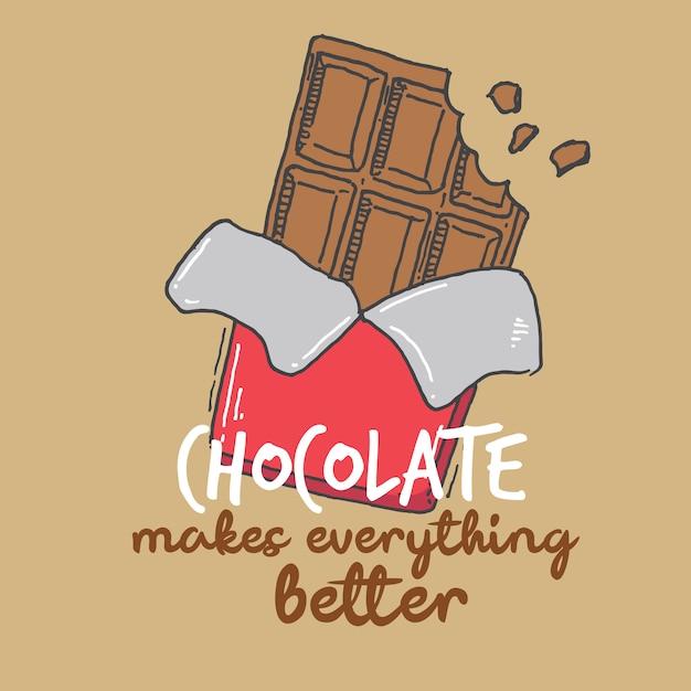 Tipografia mão lettering chocolate faz tudo melhor citar Vetor Premium
