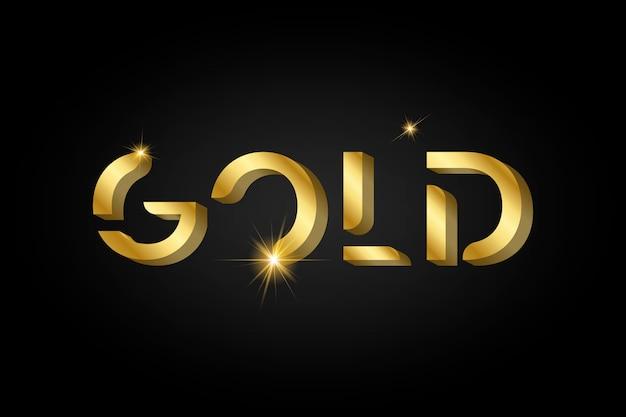 Tipografia metálica brilhante ouro Vetor grátis