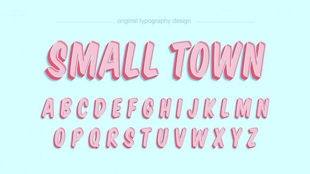 Tipografia rosa bonito dos desenhos animados Vetor Premium