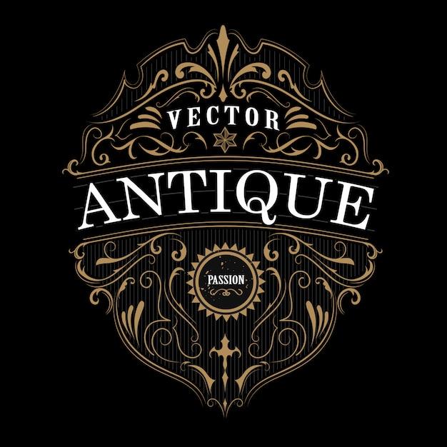 Tipografia vintage rótulo fronteira de quadro antigo Vetor Premium