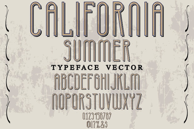 Tipografia vintage, tipografia, etiqueta, desenho, califórnia, verão Vetor Premium