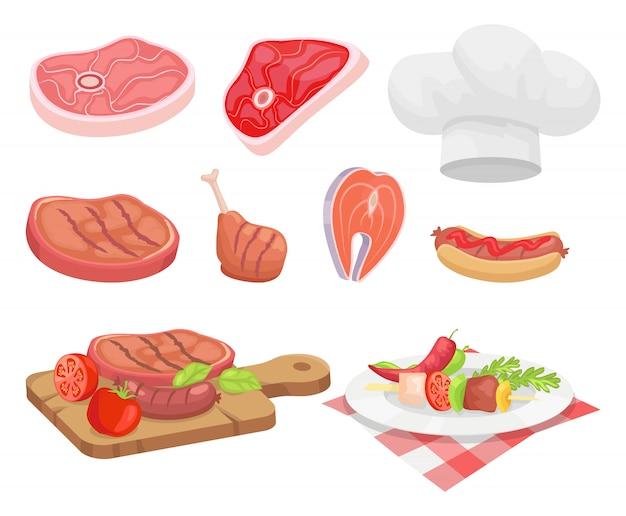 Tipos de carne carne e frango Vetor Premium