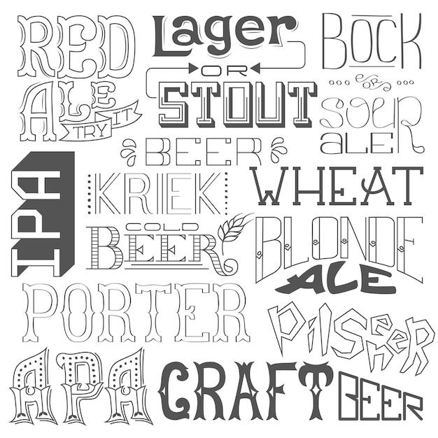 Tipos de cerveja. mão desenhada letras para bar, pub, café, fest e festa. Vetor Premium
