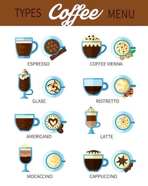 Tipos de conjunto de café Vetor grátis