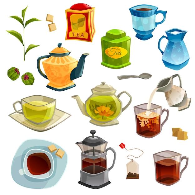 Tipos de conjunto de chá Vetor grátis