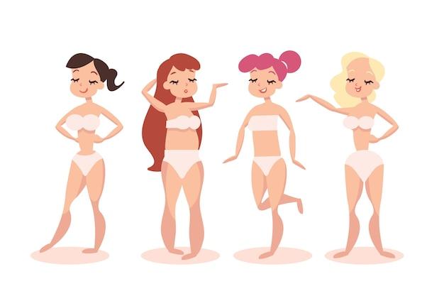 Tipos de design plano de formas do corpo feminino Vetor grátis