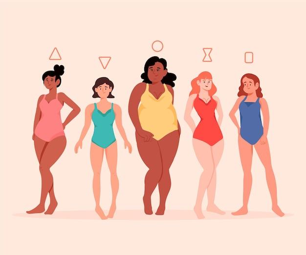Tipos de formas de corpos femininos desenhados à mão plana   Vetor Grátis