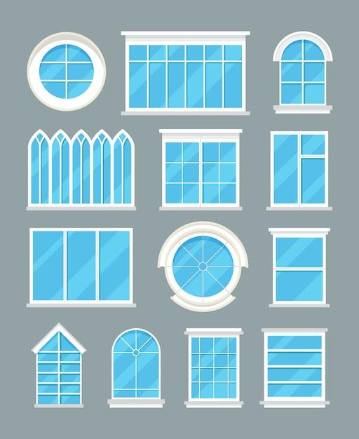 Tipos de janelas de vidro em casa vector ícones planas Vetor Premium