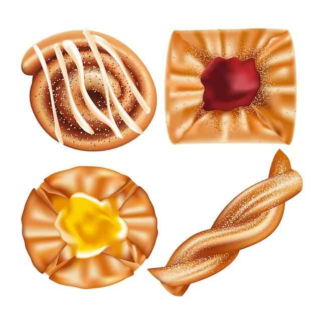 Tipos de pastéis doces dinamarqueses Vetor Premium