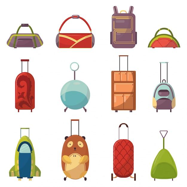 Tipos de saco bonito infantil para coleção de viagens. mala de viagem com alça de criança com rodas. mochilas brilhantes de variedade para crianças em idade escolar, estudantes, viajantes e turistas. bolsas elegantes para crianças e adultos Vetor Premium