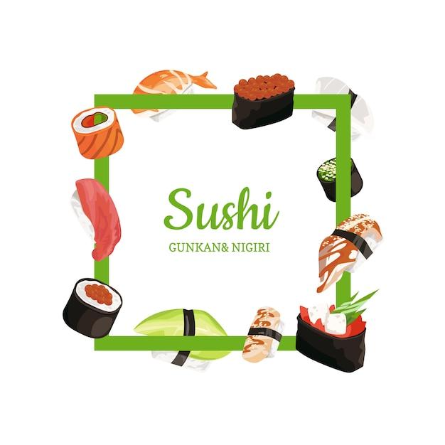 Tipos de sushi de desenho de vetor voando em volta do quadro com lugar para texto Vetor Premium