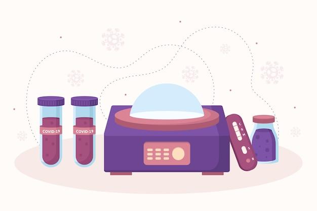 Tipos de teste de coronavírus e tubos com sangue Vetor grátis