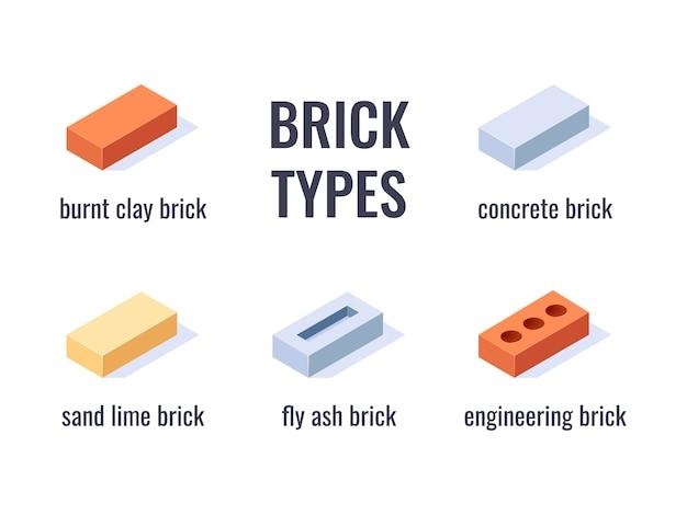 Tipos de tijolos. infográfico com ícones isométricos. Vetor Premium