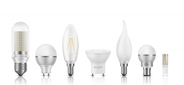 Tipos diferentes de forma, tamanho, base e filamento conjunto realista de lâmpadas 3d realista isolado no branco. Vetor grátis