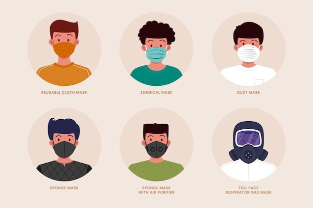 Tipos ilustrados de máscaras faciais Vetor grátis