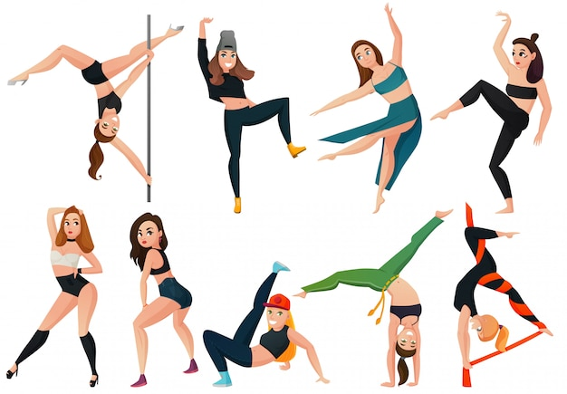 Tipos modernos de conjunto de dança Vetor grátis