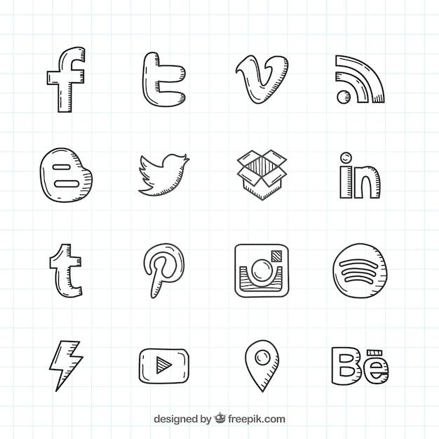 Tirado social mão rede logos colecção Vetor grátis