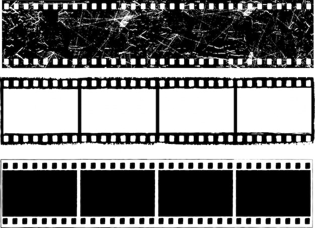 Tiras de filme grunge Vetor Premium