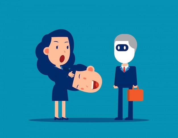 Tire a cabeça do colega e transforme-se em um robô Vetor Premium