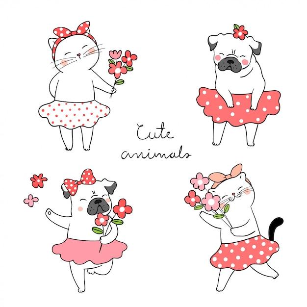 Tire o gato bonito e o cão do pug que guardam o conceito da mola da flor. Vetor Premium