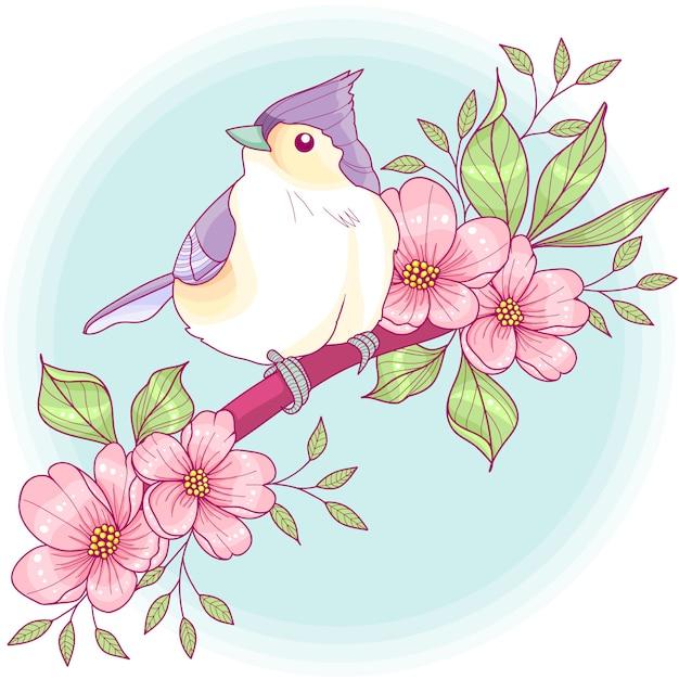 Titmouse em um ramo floral Vetor Premium