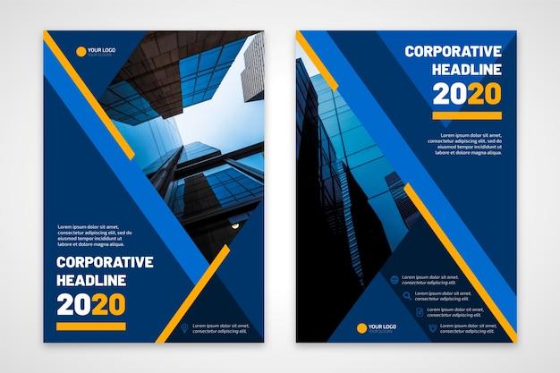 Título corporativo de panfleto de negócios 2020 Vetor Premium