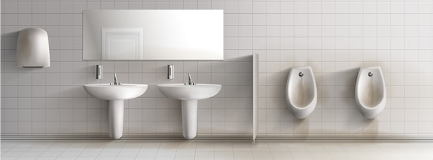 Toalete sujo dos homens do público 3d interior realístico. Vetor grátis