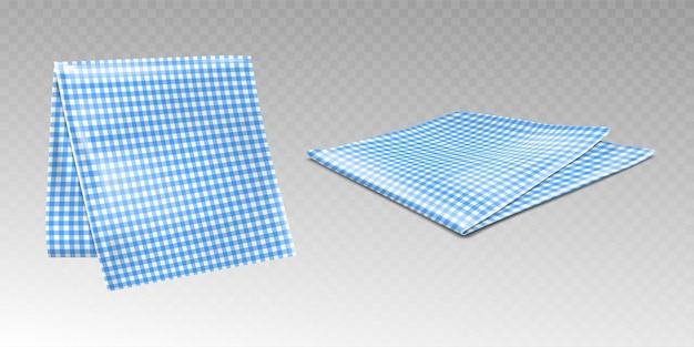 Toalha de cozinha ou toalha de mesa com padrão xadrez azul e branco Vetor grátis