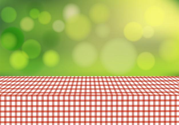Toalha de mesa de vetor no fundo desfocado Vetor Premium