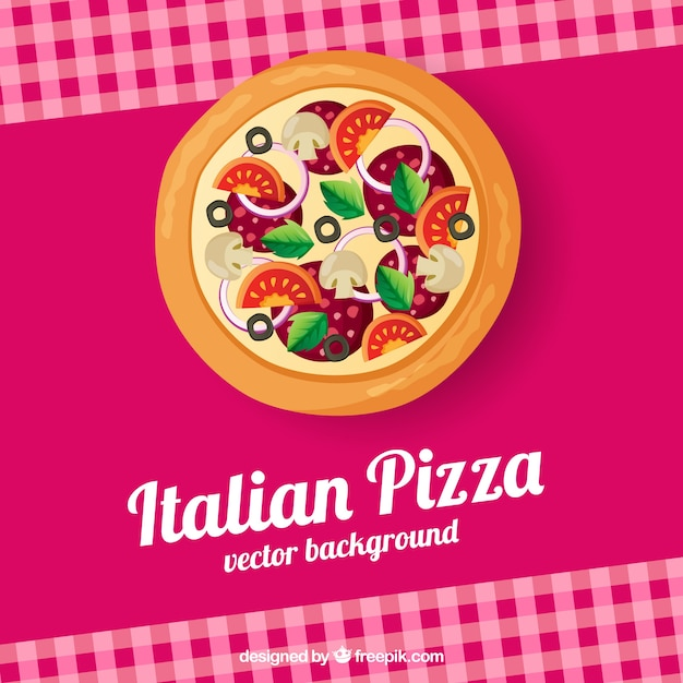Toalha de mesa e pizza de fundo Vetor grátis