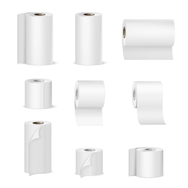 Toalhas de papel rolos de papel higiênico realista Vetor grátis